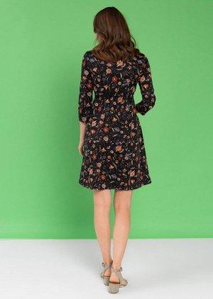 """Платье """"Алиша"""" для беременных и кормящих; черный/цветы"""
