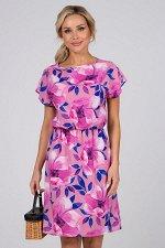 Платье Ульяна №42. Цвет:бежевый/розовый