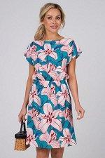 Платье Ульяна №43. Цвет:зеленый/розовый