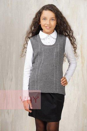 Жилет для девочек школьный (134, серый)