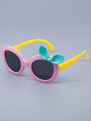 Очки детские солнцезащитные, сбоку бирюзовый бантик, желтые заушники, розовый
