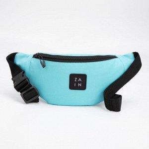 Сумка поясная, отдел на молнии, наружный карман, цвет голубой