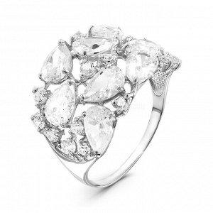 Кольцо из серебра с фианитами родированное 01-1805р200