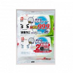 Влажные салфетки для обработки унитаза (водорастворимые, спиртосодержащие, с антибактериальным эффектом, аромат мыла) 250 мм х 160 мм, 24 штуки х 2 упаковки