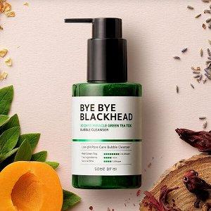 Маска-пенка от чёрных точек BYE BYE BLACKHEAD 30 Days Miracle Green TeaTox Bubble Cleanser  Some by mi