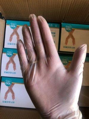 Перчатки виниловые(прозрачные) неопудренные 100шт/уп