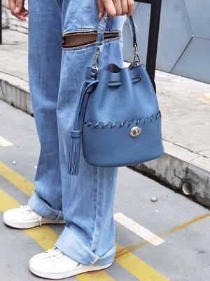 Женская кросс-боди из фактурной натуральной кожи, синий