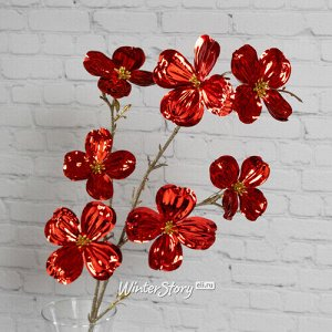 Декоративная ветка Элегантный Кизил 84 см, рубиново-красная (Kaemingk)