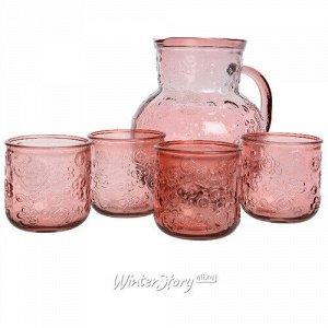 Набор для воды Роксолана: кувшин + 4 стакана, розовый, стекло (Kaemingk)
