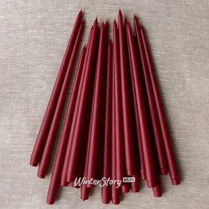 Высокие свечи Андреа Velvet 42 см, 10 шт, бордовые (Winter Decoration)