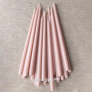 Высокие свечи Андреа Velvet 42 см, 10 шт, розовые пудровые (Winter Decoration)