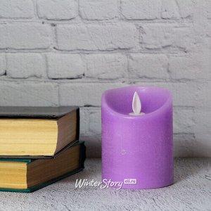 Светодиодная свеча с имитацией пламени 10 см, фиолетовая восковая, батарейка (Peha)