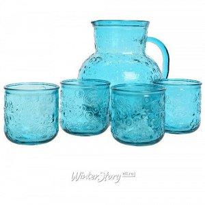 Набор для воды Роксолана: кувшин + 4 стакана, бирюзовый, стекло (Kaemingk)