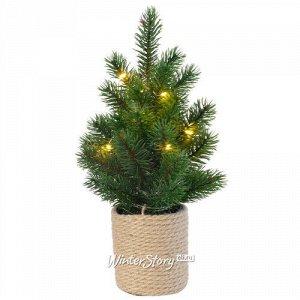 Настольная елка с лампочками Фрея в джутовом горшочке 33 см, 10 теплых белых LED ламп, батарейки, ЛИТАЯ 100% (Kaemingk)