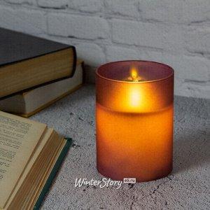 Светодиодная свеча с имитацией пламени Magic Flame в стакане 10 см фиолетовая (Peha)