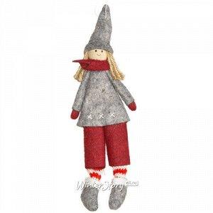 Кукла на елку Девочка Рашель из Копенгагена в сером пальто 26 см, подвеска (Due Esse Christmas)