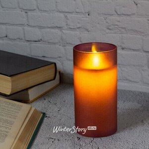 Светодиодная свеча с имитацией пламени Magic Flame в стакане 15 см фиолетовая (Peha)