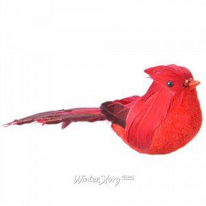 Елочная игрушка Птичка Кардинал Джорж 20 см, клипса (Kaemingk)