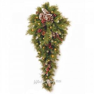 Настенный декор с лампочками Капля - Сказка заснеженный  91 см с шишками и ягодами, 50 LED ламп на батарейках, ПВХ (National Tree Company)