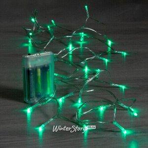 Светодиодная гирлянда Фантазия на батарейках 3 м, 30 зеленых LED ламп, прозрачный ПВХ, IP20 (Koopman)