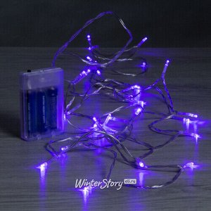 Светодиодная гирлянда Фантазия на батарейках 3 м, 30 фиолетовых LED ламп, прозрачный ПВХ, IP20 (Koopman)