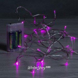 Светодиодная гирлянда Фантазия на батарейках 3 м, 30 розовых LED ламп, прозрачный ПВХ, IP20 (Koopman)