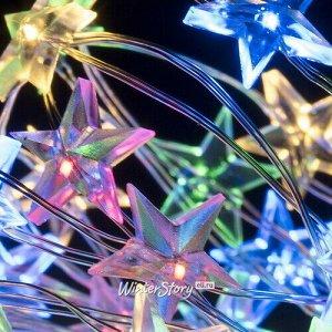 Светодиодная гирлянда Капельки Звездочки на батарейках 2 м, 40 разноцветных мини LED ламп, серебряная проволока, IP20 (Koopman)
