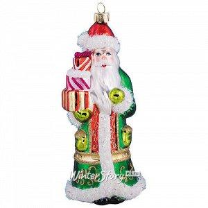 Стеклянная елочная игрушка Дед Мороз в узорной шубе с подарками 14 см, подвеска (Holiday Classics)