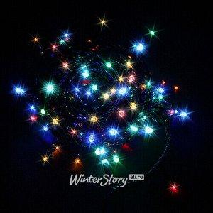 Светодиодная гирлянда Разноцветные Шарики 100 разноцветных LED ламп 5.2 м, зеленый ПВХ, контроллер, IP20 (Snowmen)