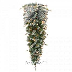 Хвойный сталактит с лампочками Фредерика заснеженная 120 см, 152 теплые белые LED лампы, ПВХ + ЛЕСКА (Triumph Tree)