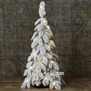 Настольная елка со светодиодами Альпийская заснеженная 60 см, 30 теплых белых микро LED ламп на батарейках, ЛИТАЯ 100% (Kaemingk)