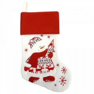Новогодний носок Скандинавский мотив - Снеговик 45 см (Peha)