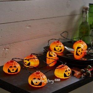 Светодиодная гирлянда на батарейках Halloween - Тыковка Джек 2.1 м, 8 холодных белых LED ламп, черный ПВХ, IP44 (Star Trading)