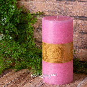 Декоративная свеча Ливорно Рустик 205*100 мм розовая (Омский Свечной)