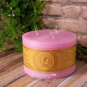 Большая свеча с тремя фитилями Ливорно Рустик 105*150 мм розовая (Омский Свечной)
