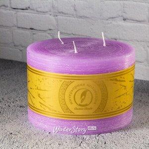 Большая свеча с тремя фитилями Ливорно Рустик 105*150 мм сиреневая (Омский Свечной)