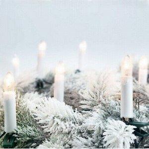 Гирлянда свечи Моника, 16 свечей на клипсах, 4 м, зеленый ПВХ, IP20 (Koopman)