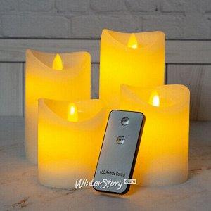 Набор восковых светодиодных свечей Живое Пламя 4 шт с пультом управления, белые, на батарейках (Koopman)