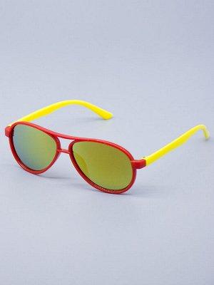 Очки детские, капельки, с жёлтыми заушниками, стекло хамелеон, красный