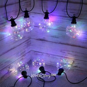 Гирлянда из лампочек Neptune, 10 ламп, разноцветные микро LED, с мерцанием, 4.5 м, черный ПВХ, соединяемая, IP44 (Kaemingk)
