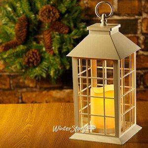 Фонарь Братья Гримм со светодиодной свечой, 29*14*14 см, белый, клеточка, батарейка (Koopman)