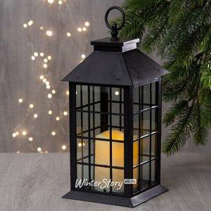 Фонарь Братья Гримм со светодиодной свечой, 29*14*14 см, черный, клеточка, батарейка (Koopman)