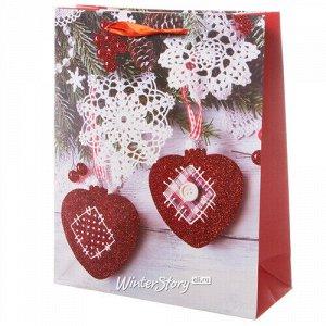 Подарочный пакет Новогодний Кантри: Сердечки и снежинки 32*26 см (Koopman)