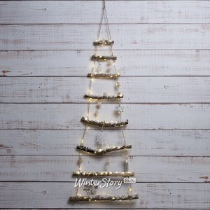 Настенная светящаяся елка из палок Снежная 100 см 90 теплых белых мини LED ламп, на батарейках (Kaemingk)