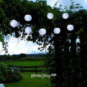 Садовая гирлянда на солнечной батарее Китайские фонарики 2.7 м, 10 холодных белых LED ламп, прозрачный провод, IP44 (Star Trading)