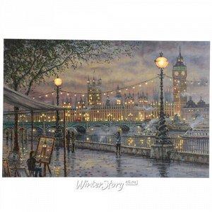 Светодиодная картина Вечерний Лондон 60*40 см с оптоволоконной и LED подсветкой, на батарейках (Kaemingk)