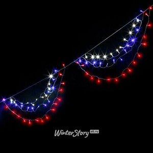 Гирлянда для дома Портьера - Триколор 4.2 м, 200 бело-сине-красных LED ламп, белый ПВХ, контроллер, IP20 (Snowmen)