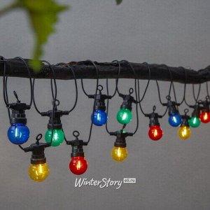 Гирлянда из лампочек Party Lights 20 ламп, разноцветные LED, 8.55 м, черный ПВХ, IP44 (Star Trading)