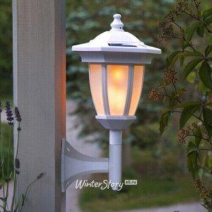 Настенный фонарь на солнечной батарее Solar Verona 35*16 см с эффектом пламени, белый, IP44 (Star Trading)
