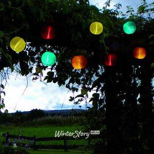 Садовая гирлянда на солнечной батарее Китайские фонарики 2.7 м, 10 белых LED ламп, прозрачный провод, IP44 (Star Trading)